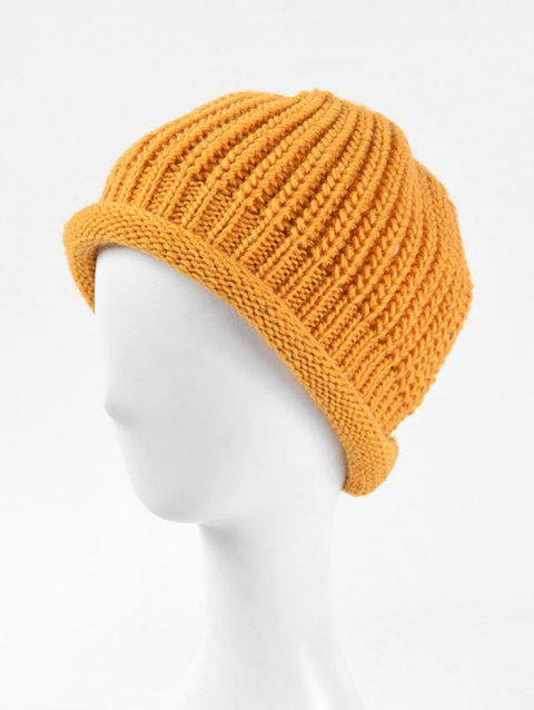 Solid Knitted Simple Winter Soft Hat - YELLOW