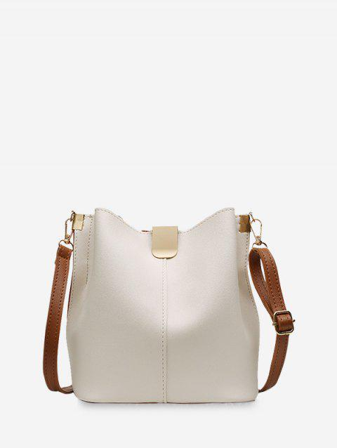 PU Leather Solid Bucket Bag - WARM WHITE