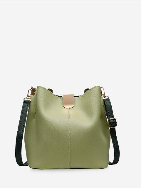 PU Leather Solid Bucket Bag - GREEN ONION