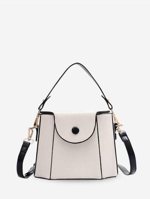 Contrast Pipped Flap PU Leather Tote Bag - MILK WHITE