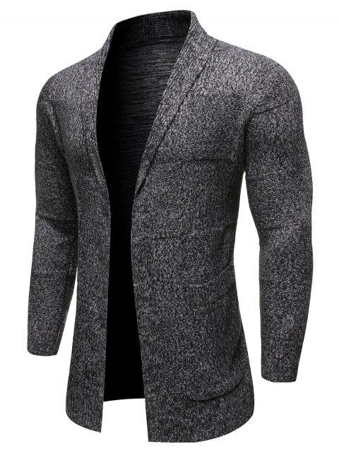 Solid Color Pocket Decoration Long-sleeved Cardigan - CARBON GRAY 2XL