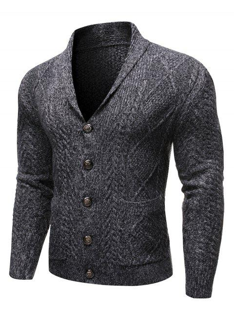Single-breasted Knitted Long Sleeves Cardigan - CARBON GRAY 2XL