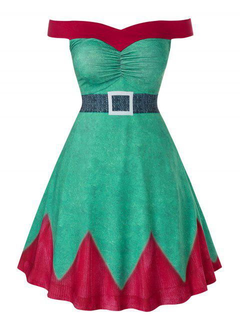 Plus Size Christmas Off The Shoulder A Line High Waist Dress