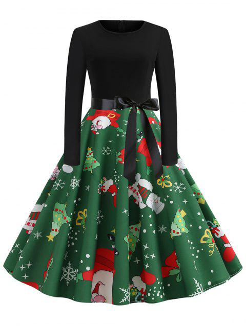 Plus Size Vintage Christmas Printed Fit and Flare Dress - MEDIUM FOREST GREEN 4X