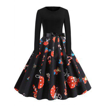 Christmas Ball Gift Print Belted Party Dress