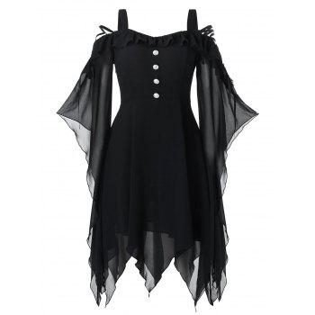 Plus Size Handkerchief Butterfly Sleeve Lace Up Halloween Gothic Dress