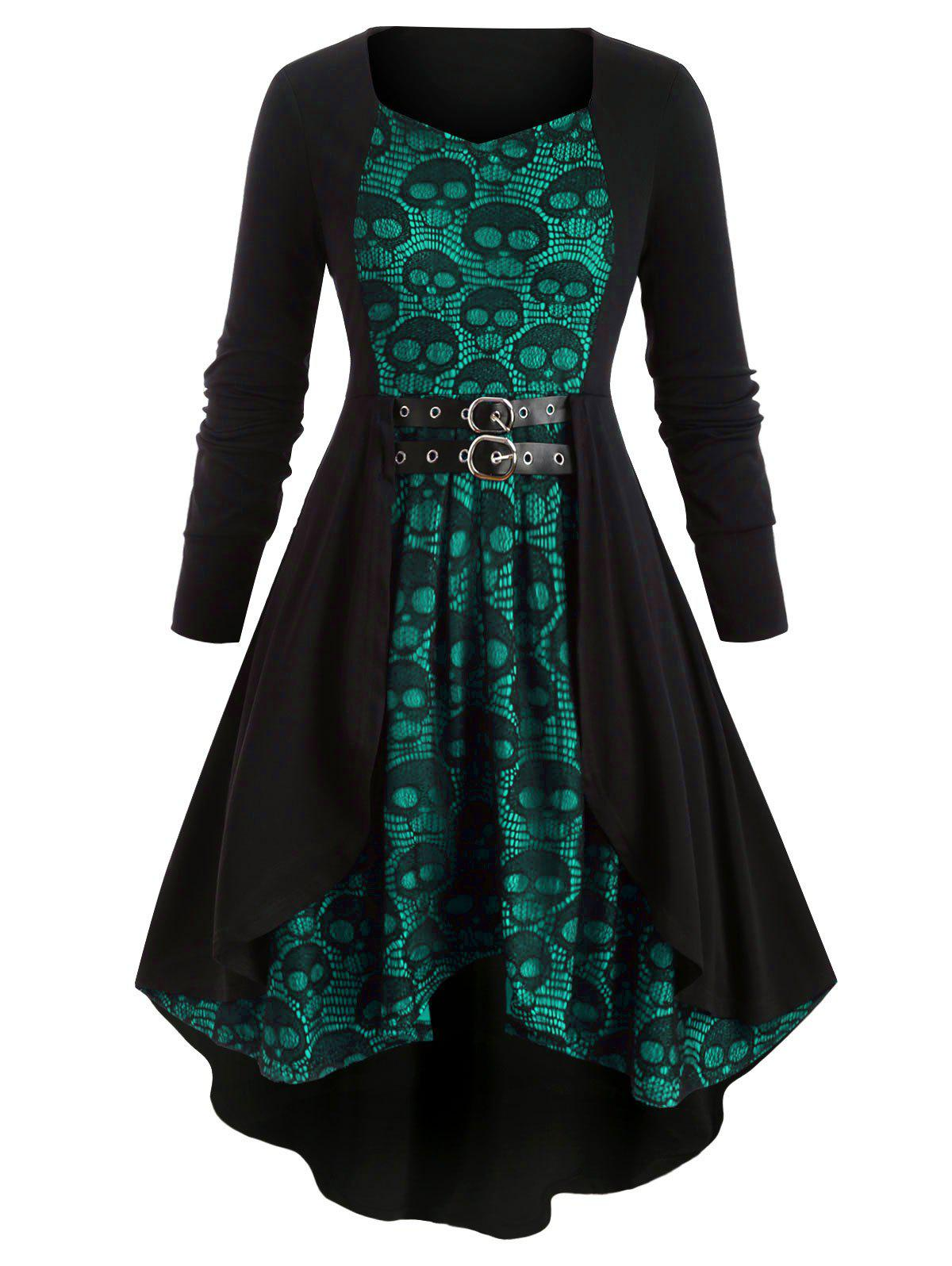 Plus Size Skull Lace V Neck Dress - LIGHT SEA GREEN L