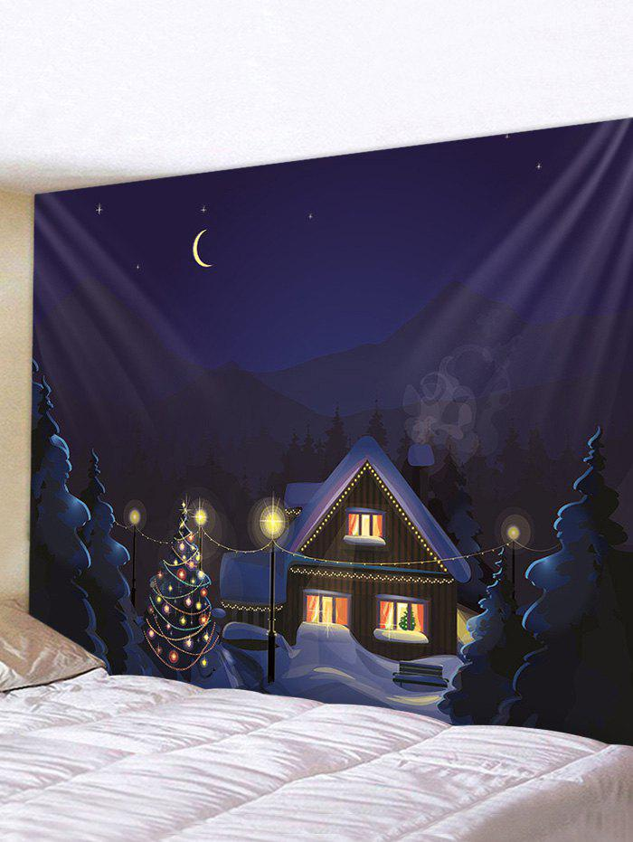 Christmas Tree Snow House Print Wall Tapestry - multicolor A 230*180CM