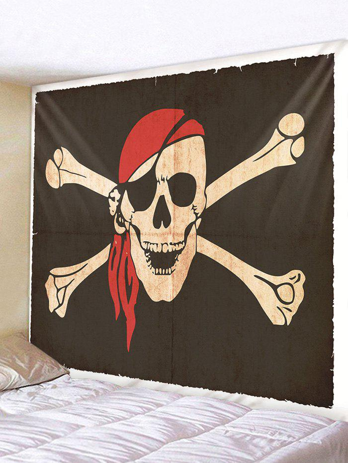 Halloween Pirate Skull Printing Wall Tapestry - multicolor A 230*180CM