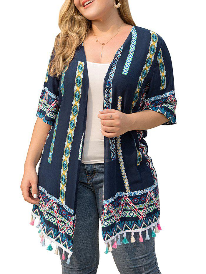 Plus Size Tribal Print Tassels Cover Up - CADETBLUE 1X