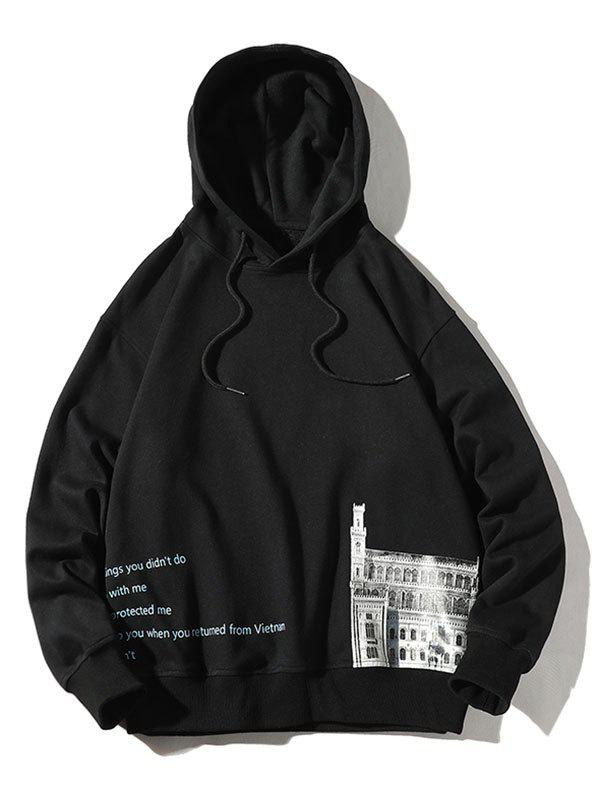 Plus Size Drawstring Letters and Building Print Pullover Hoodie - BLACK 5XL