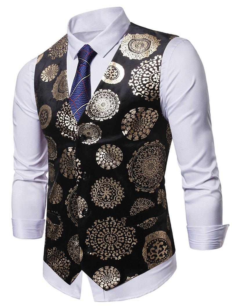 Floral Gilding Printed Casual Waistcoat - BLACK XL