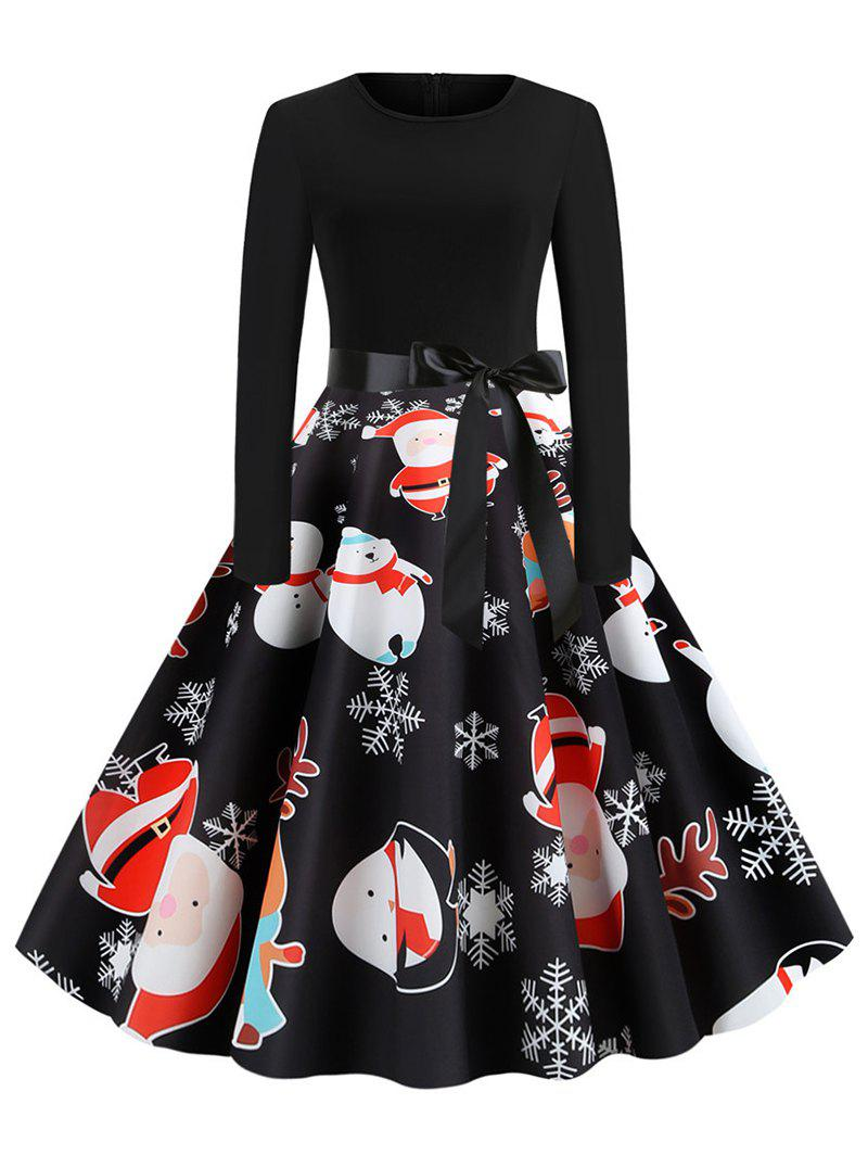 Santa Claus Reindeer Belted Christmas A Line Dress - BLACK 2XL