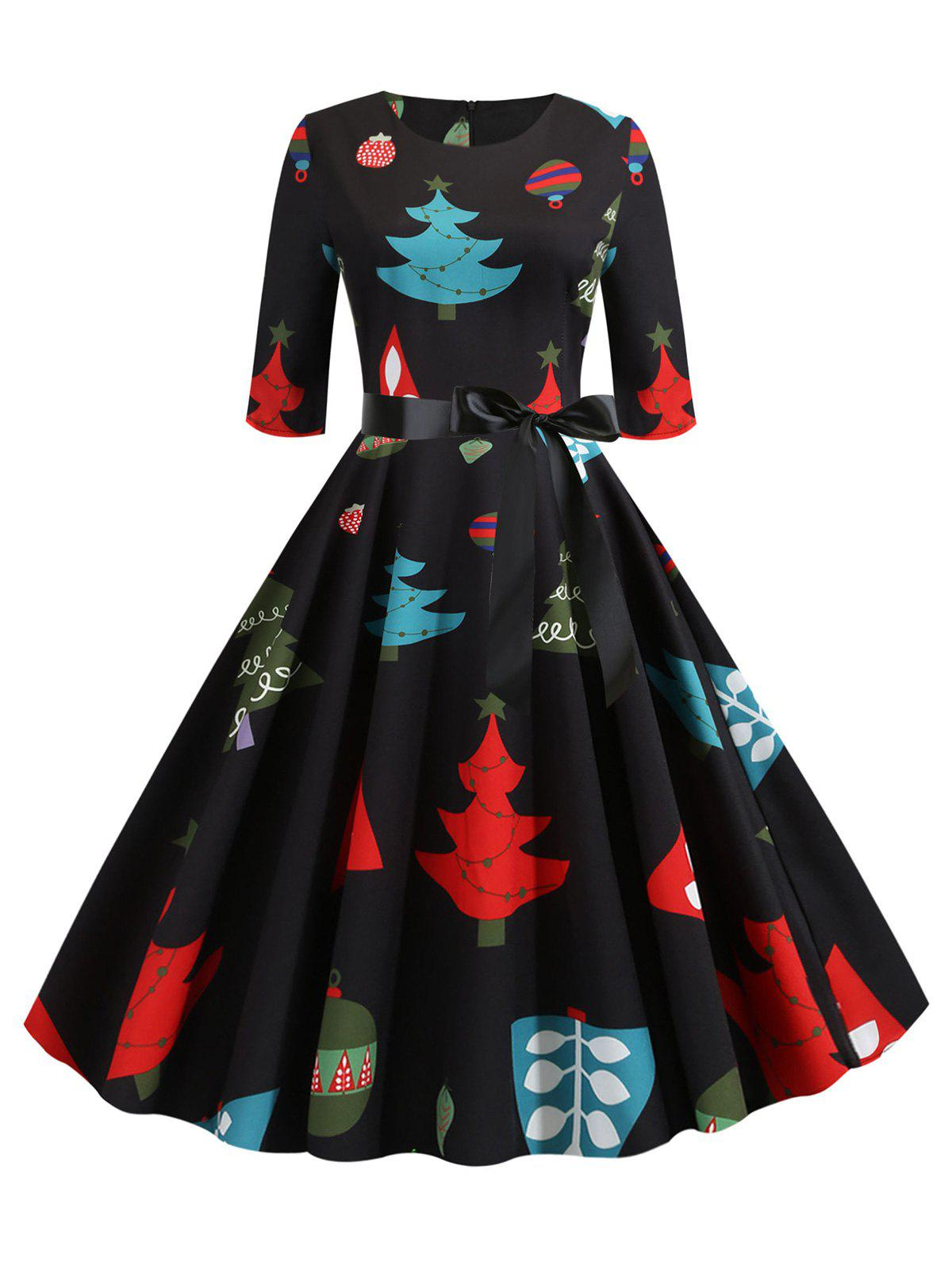 Christmas Tree Print Belted Half Sleeve Dress - multicolor A L