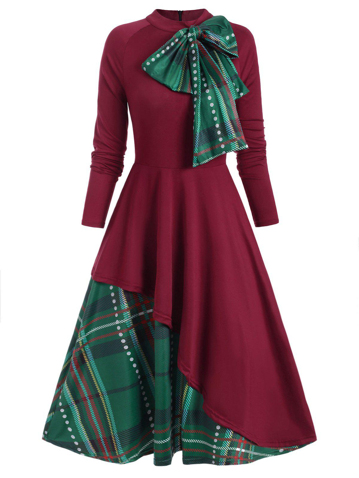 Plaid Contrast Bowknot Long Sleeves Overlay Dress - RED WINE L