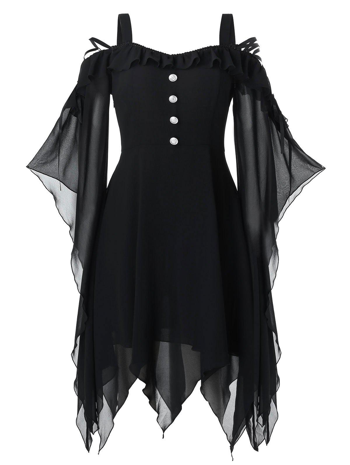 Plus Size Handkerchief Butterfly Sleeve Lace Up Halloween Gothic Dress - BLACK 3X