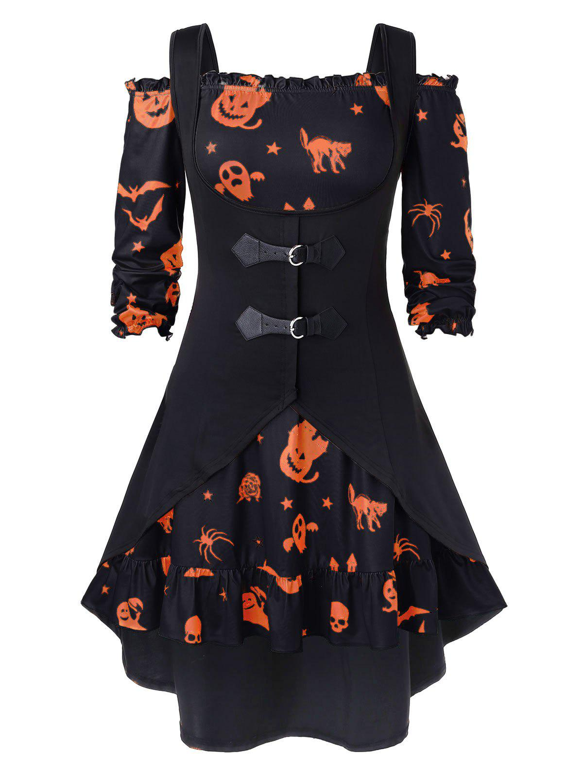 Plus Size Off The Shoulder Pumpkin Print Halloween Vintage Dress with Vest - BLACK 2X
