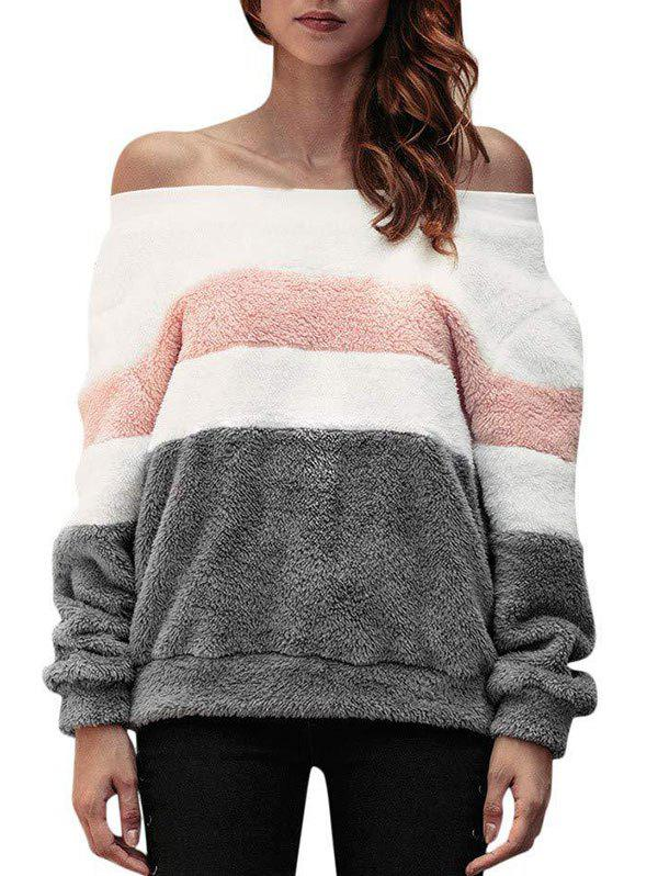 Off Shoulder Colorblock Faux Fur Sweatshirt - GRAY L