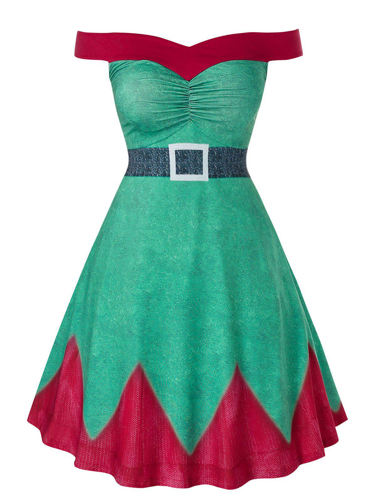Plus Size Christmas Off The Shoulder A Line High Waist Dress - GREEN SNAKE 3X