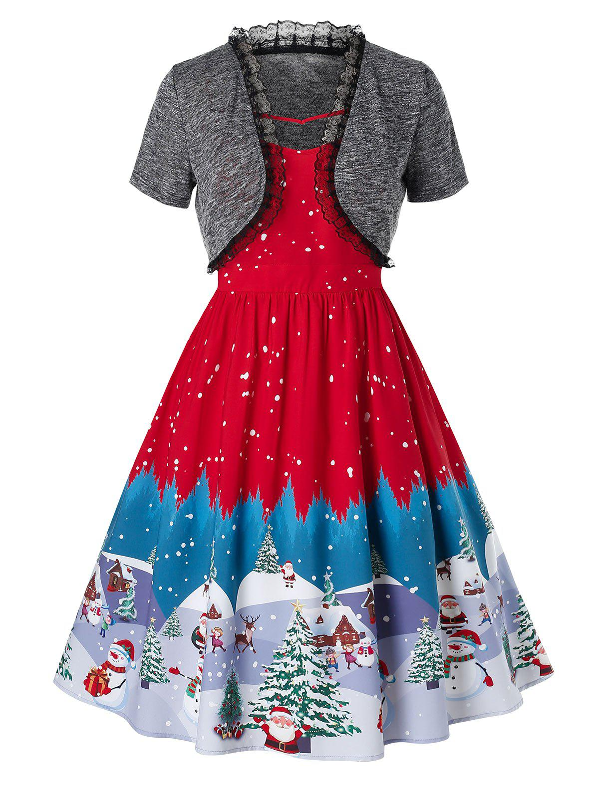 Plus Size Vintage Christmas Snowman Tree Print Pin Up Dress - RED 5X