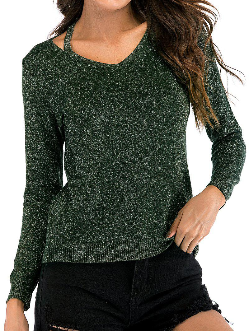 V Neck Sparkly Cut Out Knitwear - ARMY GREEN L