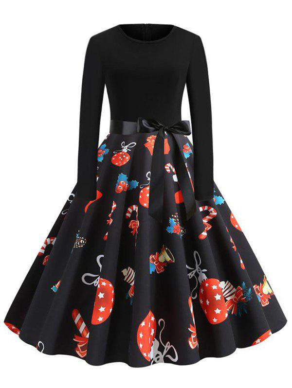 Christmas Ball Gift Print Belted Party Dress - multicolor B L