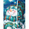 Plus Size Snowman Print Christmas Long Sleeve Hoodie - SKY BLUE 5X