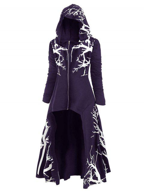Plus Size Hooded Tree Print High Low Halloween Coat - PURPLE IRIS 5X