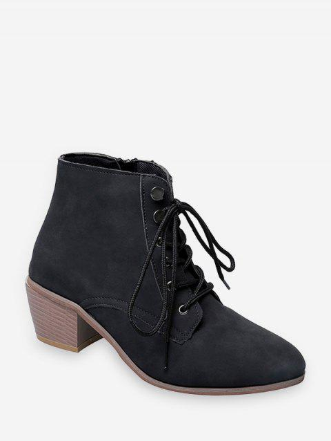 Pointed Toe Stacked Block Heel Ankle Boots - BLACK EU 36