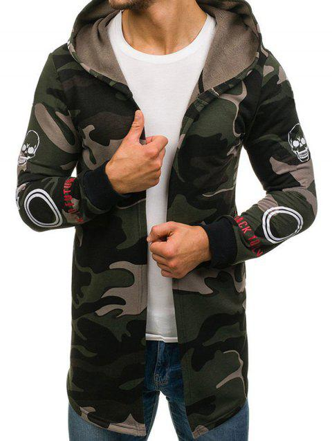 Skull Graphic Camouflage Open Front Longline Hoodie - ARMY GREEN 4XL