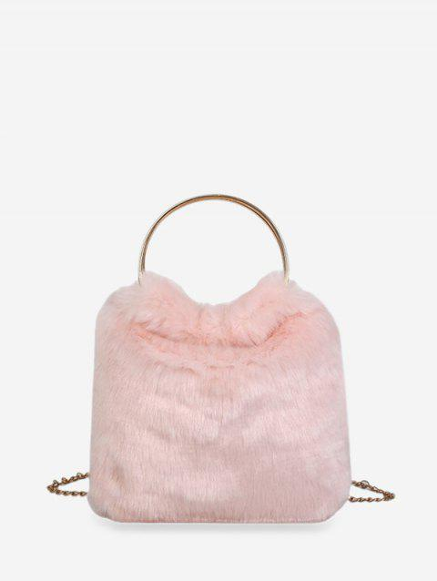 Faux Fur Metal Handle Chain Handbag - PIG PINK