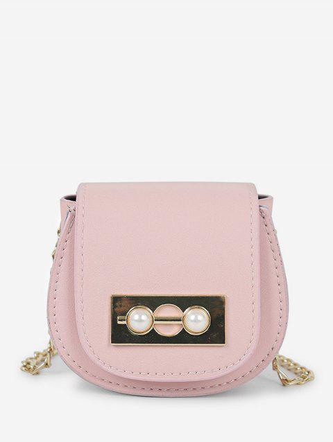 Faux Pearl Decoration Crossbody Bag - PIG PINK