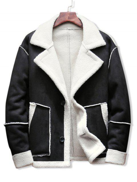 Contrast Color Spliced Faux Fur Jacket - BLACK M