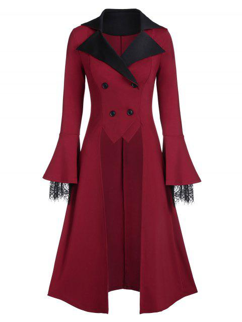 Two Tone Long Sleeve Tunic Coat - RED WINE 3XL