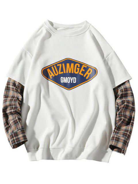 Plus Size Letter and Plaid Print Doctor Sleeve Sweatshirt - WHITE 5XL