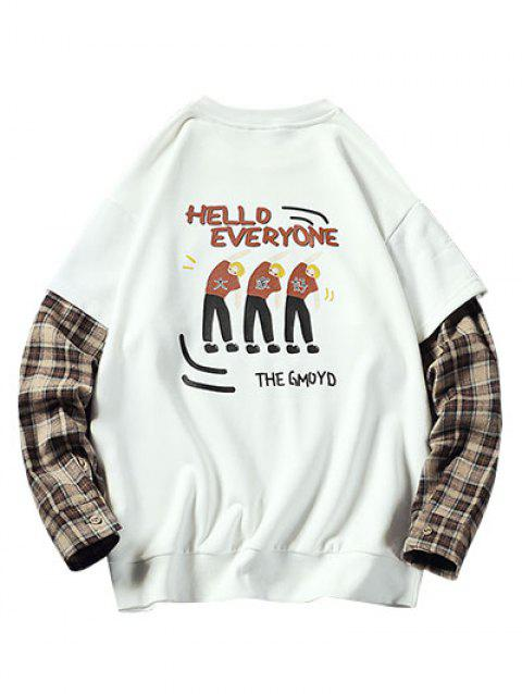 Plus Size Cartoon Graphic and Plaid Print Doctor Sleeve Pullover Sweatshirt - WHITE 5XL