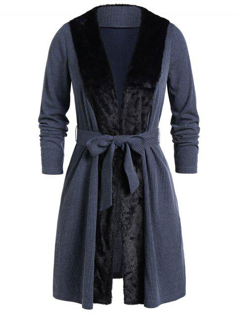 Plus Size Open Faux Fur Panel Belted Coat