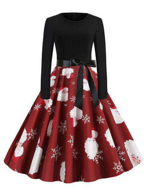 Christmas Santa Claus Belted Long Sleeve Dress - RED XL