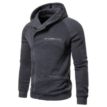 Solid Color Zipper Decoration Casual Hoodie