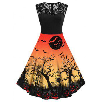 Halloween Pumpkin Bat Print Lace Insert Sleeveless Dress