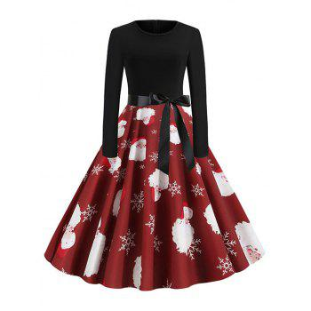 Christmas Santa Claus Belted Long Sleeve Dress