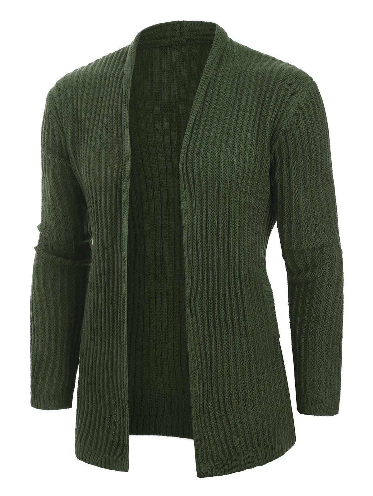 Solid Color Casual Pocket Cardigan - ARMY GREEN M