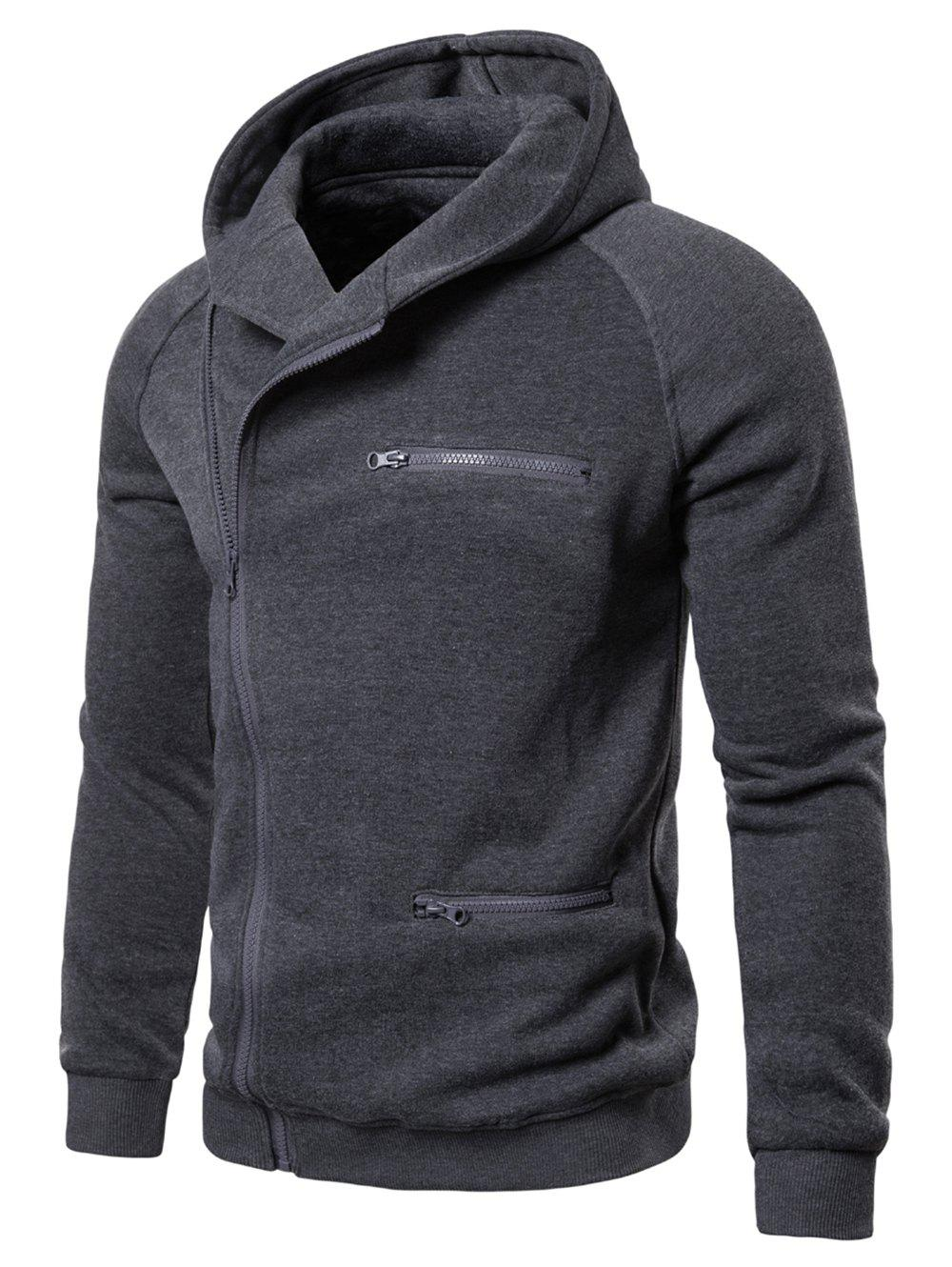 Solid Color Zipper Decoration Casual Hoodie - CARBON GRAY L