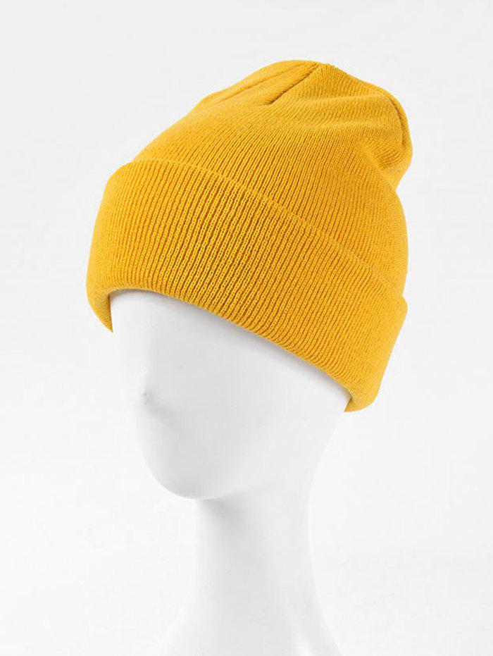 Knitted Soft Winter Solid Weaving Hat - YELLOW