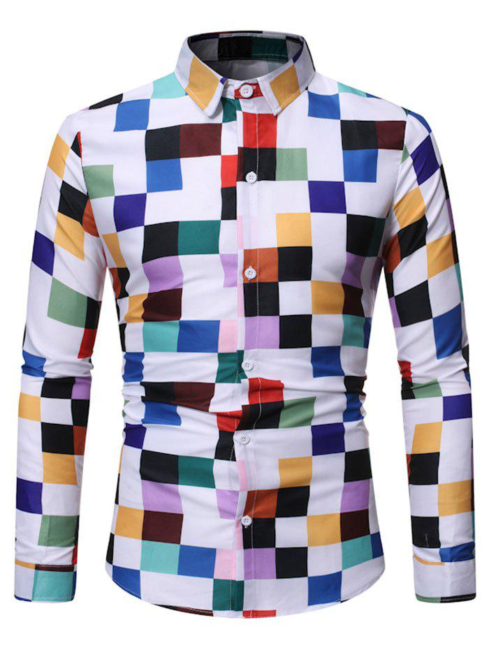 Colorful Plaid Pattern Full Sleeves Shirt - multicolor 2XL