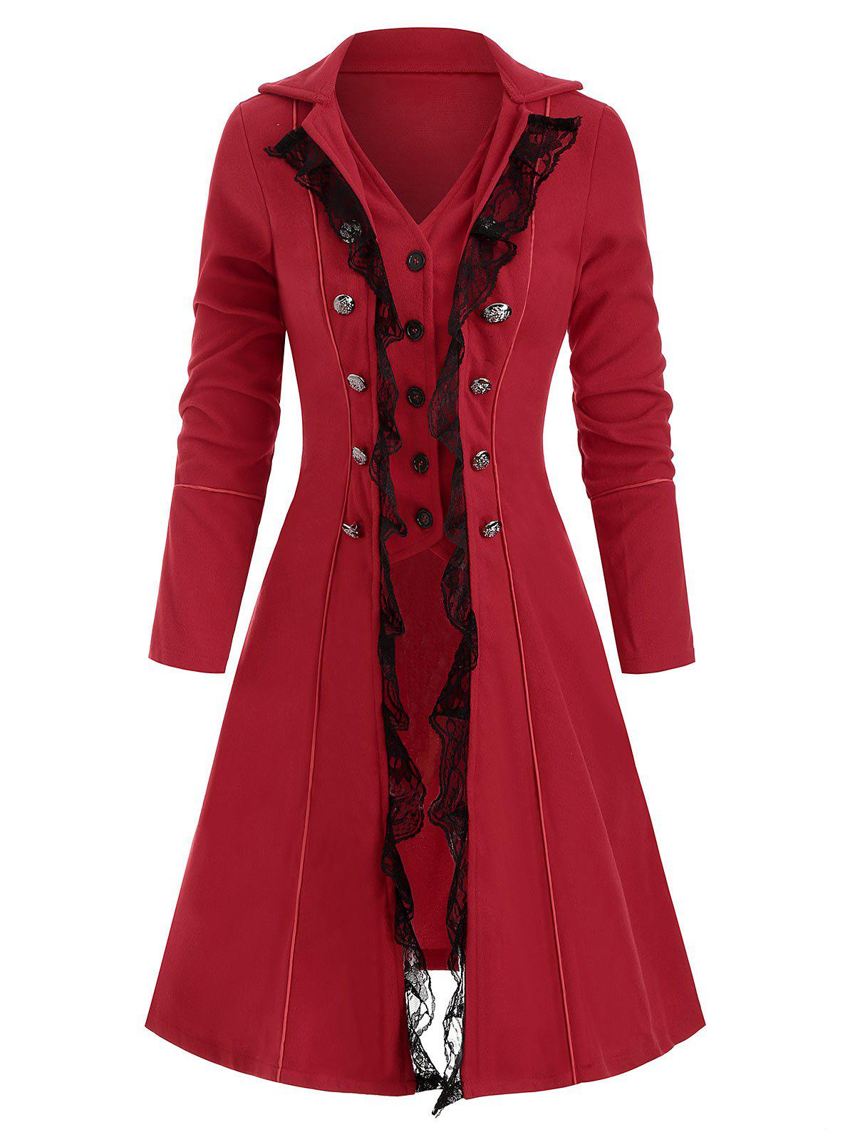 Button Up Lace Panel Mock Button Coat - RED M