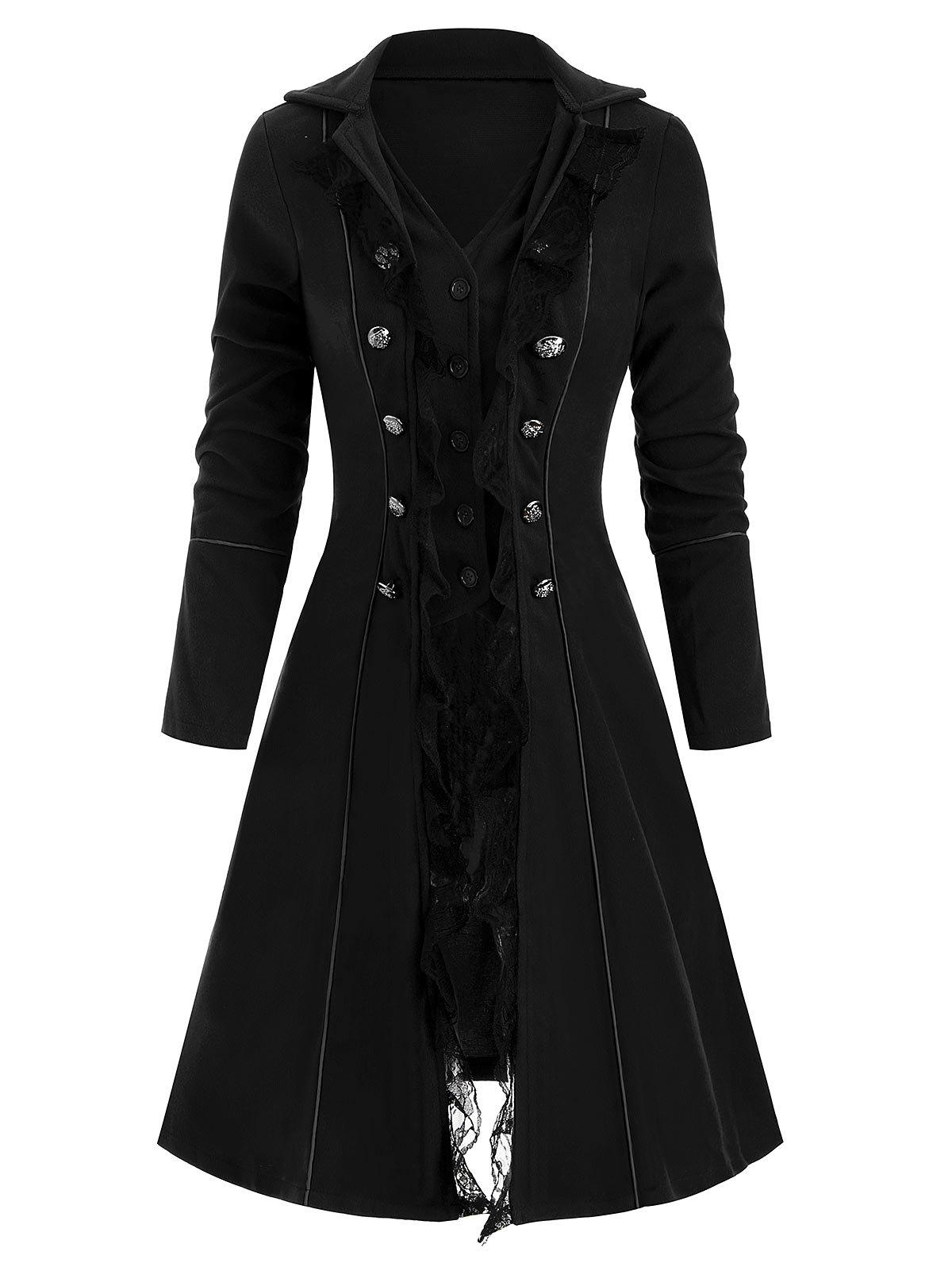 Button Up Lace Panel Mock Button Coat - BLACK L