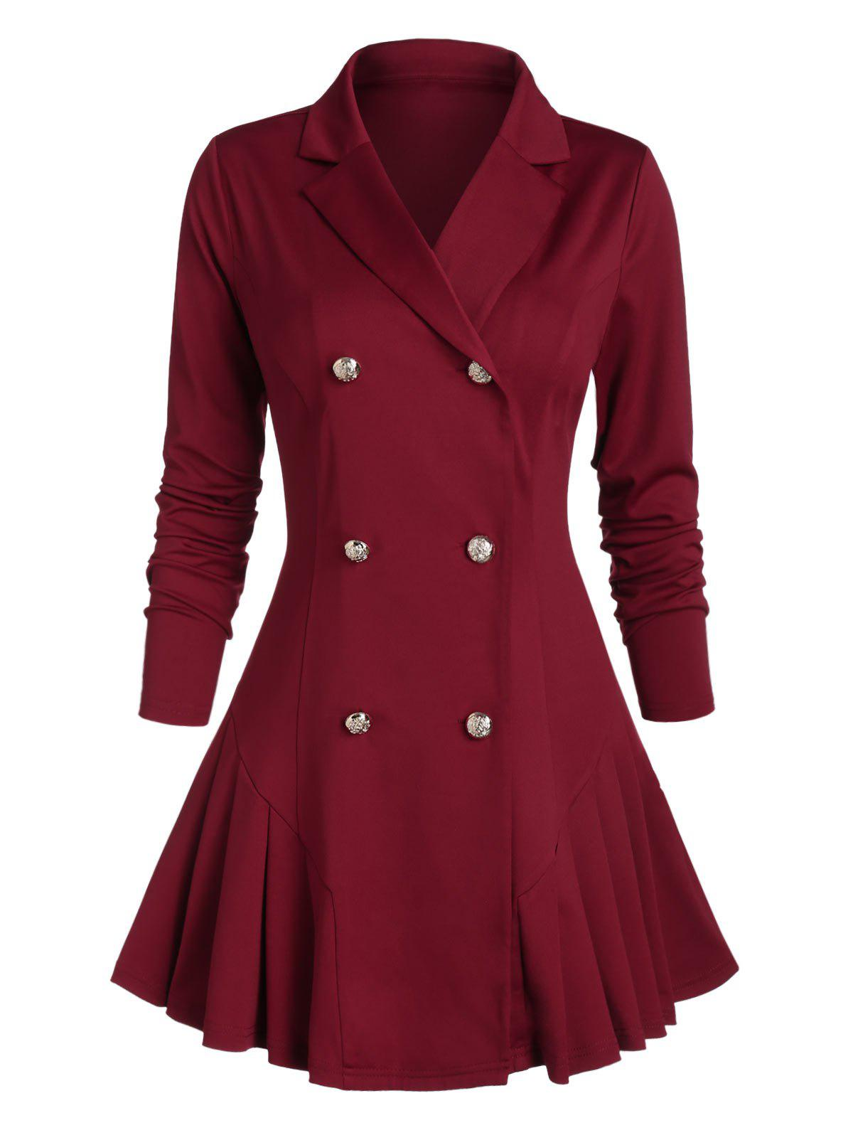 Double Breasted Lapel Pleated A Line Skirted Coat - RED WINE 2XL
