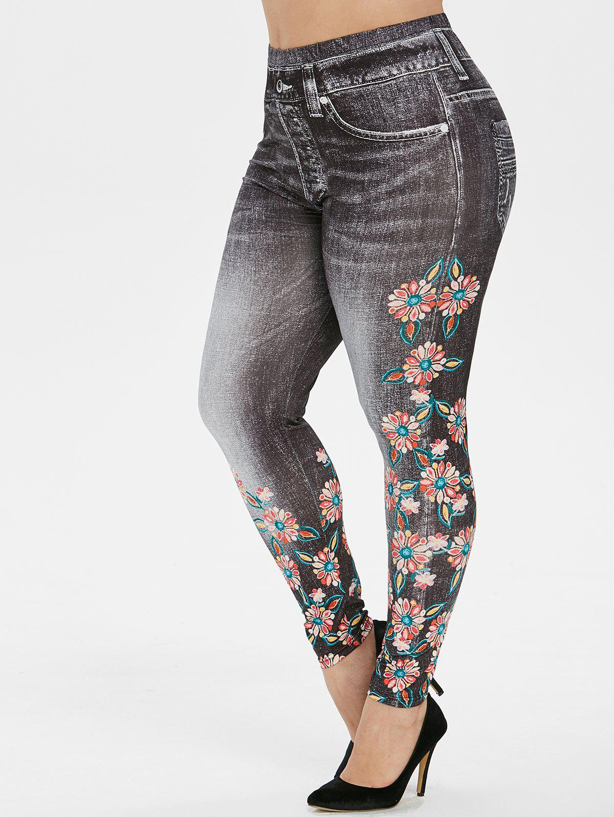 Plus Size Floral Print 3D Faded Jeggings - BLACK 5X