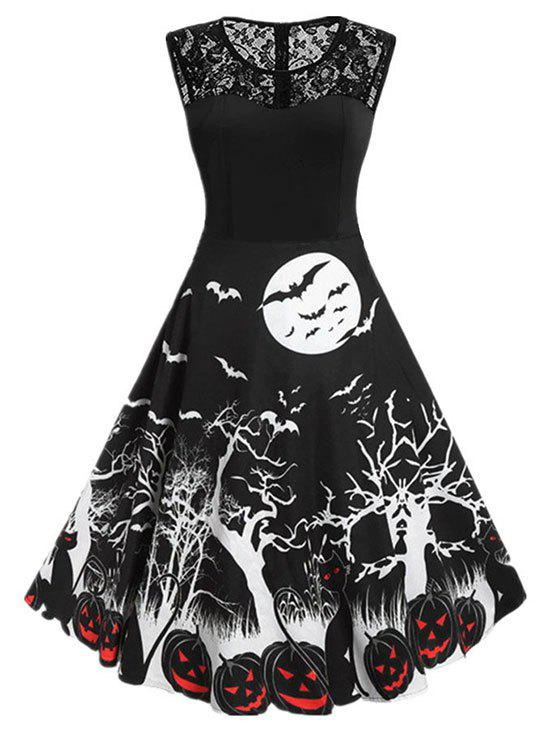 Halloween Pumpkin Bat Print Lace Insert Sleeveless Dress - BLACK 2XL